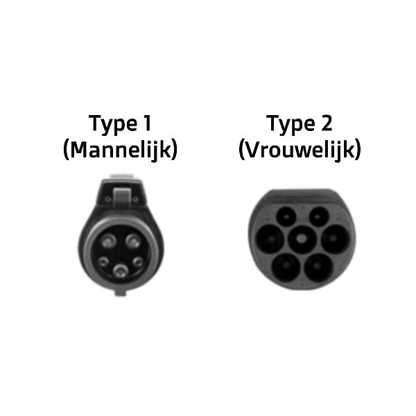Laadkabel Type 1 naar Type 2 - 16A 1-Fase stekkers