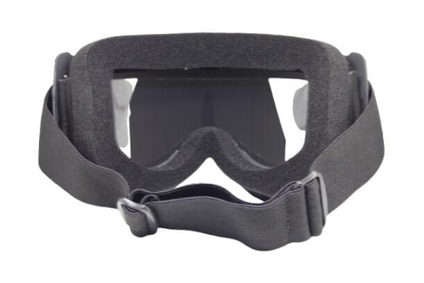 Skibril Dames Zwart / Skibril Heren Zwart gesloten masker met Zilveren vizier bril achterkant
