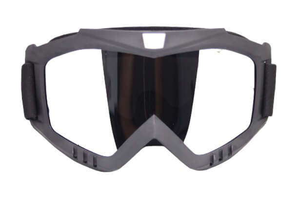Skibril Dames Zwart / Skibril Heren Zwart gesloten masker met Zilveren vizier bril
