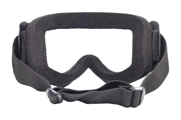 Skibril Dames Zwart / Skibril Heren Zwart gesloten masker met Zwart vizier bril achterkant