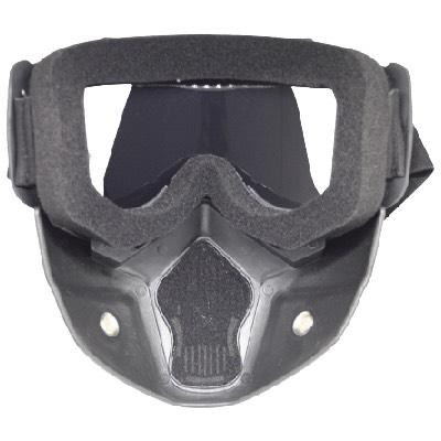 Skibril Dames Zwart / Skibril Heren Zwart gesloten masker met Zilveren vizier achterkant