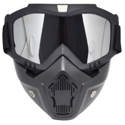 Skibril Dames Zwart / Skibril Heren Zwart gesloten masker met Zilveren vizier voorkant