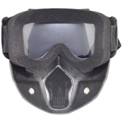 Skibril Dames Zwart / Skibril Heren Zwart gesloten masker met Zwart vizier achterkant