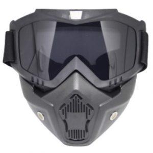 Skibril Dames Zwart / Skibril Heren Zwart gesloten masker met Zwart vizier voorkant